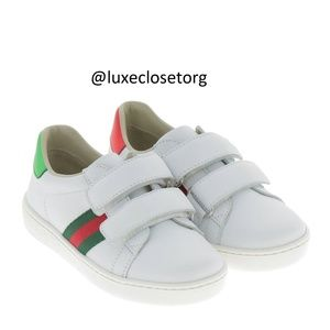NEW GUCCI KIDS Toddler New Ace Leather Sneakers